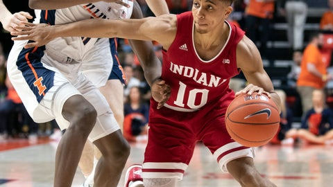 <p>               FILE - In this March 7, 2019, file photo, Indiana guard Rob Phinisee (10) drives to the basket against Illinois guard Ayo Dosunmu (11) during the second half of an NCAA college basketball game in Champaign, Ill. Phinisee understands the secret to being an effective point guard. He must find the proper balance between aggressive scorer and creative distributor while using his vision to help Indiana's offense operate efficiently.(AP Photo/Stephen Haas, File)             </p>