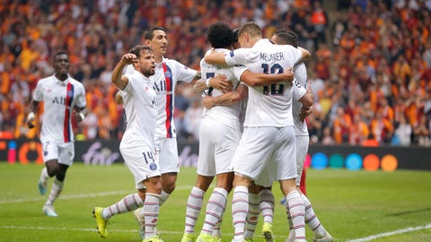 <p>               PSG's Mauro Icardi celebrates with his teammates after scoring his side's first goal during the Champions League group A soccer match between Galatasaray and PSG in Istanbul, Tuesday, Oct. 1, 2019. (AP Photo)             </p>