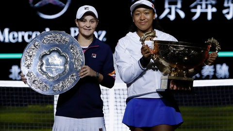 <p>               Naomi Osaka of Japan, right, and Ashleigh Barty of Australia pose with their trophies after the final of the women's singles final at the China Open tennis tournament in Beijing, Sunday, Oct. 6, 2019. Osaka defeated Barty 3-6, 6-3, 6-2. (AP Photo/Mark Schiefelbein)             </p>