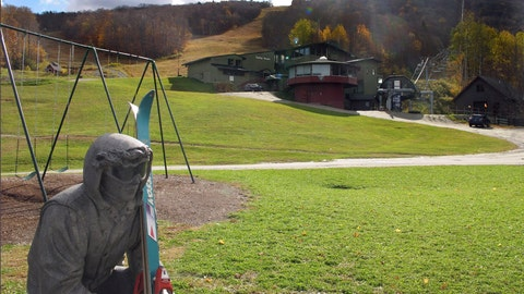 <p>               In this Oct. 23, 2019, photo, a sculpture of a skier and slopes, rear, await the ski season at Sugarbush Resort in Warren, Vt. In the tight labor market, ski areas are having a tough time hiring seasonal workers so they're upping the ante by boosting wages, offering more worker housing and other incentives. (AP Photo/Lisa Rathke)             </p>
