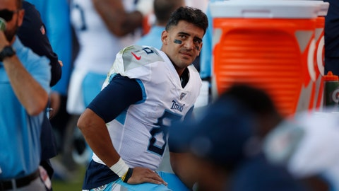 <p>               Tennessee Titans quarterback Marcus Mariota looks on from the sideline during the second half of an NFL football game against the Denver Broncos, Sunday, Oct. 13, 2019, in Denver. (AP Photo/David Zalubowski)             </p>