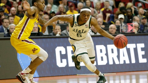 <p>               FILE - In this March 23, 2019, file photo, Michigan State's Cassius Winston (5) drives past Minnesota's Dupree McBrayer (1) during the second half of a second round men's college basketball game in the NCAA Tournament, in Des Moines, Iowa. Cassius Winston is the unanimous pick for Big Ten Preseason Player of the Year. The vote by media announced Wednesday, Oct. 2, 2019, was hardly a surprise considering Winston was selected Big Ten Player of the Year last season. (AP Photo/Nati Harnik, File)             </p>