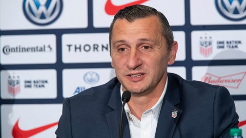 <p>               Vlatko Andonovski speaks during a news conference Monday, Oct. 28, 2019, in New York. U.S. Soccer president Carlos Cordeiro named Andonovski as head coach in U.S. Women's National Team on Monday. (AP Photo/Mary Altaffer)             </p>