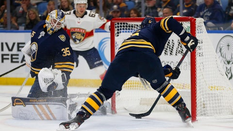 <p>               Buffalo Sabres defenseman Marco Scandella (6) stops the puck from crossing the goal line during the second period of an NHL hockey game against the Florida Panthers, Friday, Oct. 11, 2019, in Buffalo, N.Y. (AP Photo/Jeffrey T. Barnes)             </p>