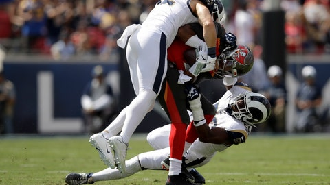 <p>               Los Angeles Rams outside linebacker Clay Matthews, top, and defensive end Dante Fowler sack Tampa Bay Buccaneers quarterback Jameis Winston during the first of an NFL football game Sunday, Sept. 29, 2019, in Los Angeles. (AP Photo/Marcio Jose Sanchez)             </p>
