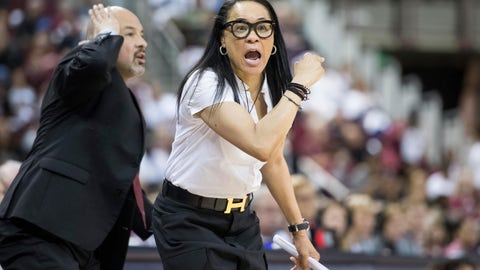 <p>               FILE - In this March 3, 2019, file photo, South Carolina head coach Dawn Staley, right, communicates with players during the first half of an NCAA college basketball game against Mississippi State, in Columbia, S.C. Staley, fresh off a dominating U.S. run to the gold at the FIBA AmeriCup tournament, switches focus to her day job in preparing a young South Carolina team to stay competitive nationally and in the Southeastern Conference.(AP Photo/Sean Rayford, File)             </p>