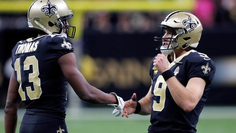 <p>               New Orleans Saints quarterback Drew Brees (9) greets New Orleans Saints wide receiver Michael Thomas (13) after a touchdown in the second half of an NFL football game against the Arizona Cardinals in New Orleans, Sunday, Oct. 27, 2019. (AP Photo/Bill Feig)             </p>