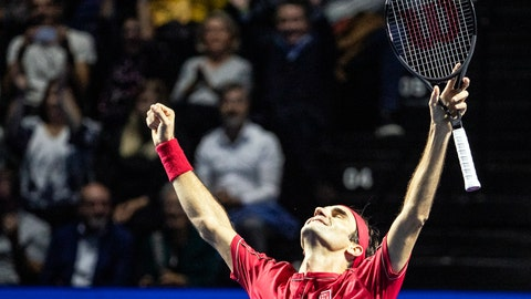 <p>               Roger Federer of Switzerland celebrates after defeating Alex De Minaur of Australia during their final match at the Swiss Indoors tennis tournament at the St. Jakobshalle in Basel, Switzerland, on Sunday, Oct. 27, 2019. (Alexandra Wey/Keystone via AP)             </p>
