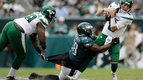 <p>               Philadelphia Eagles' Hassan Ridgeway (98) tries to tackle New York Jets' Luke Falk (8) as Kelvin Beachum (68) defends during the second half of an NFL football game, Sunday, Oct. 6, 2019, in Philadelphia. (AP Photo/Matt Rourke)             </p>