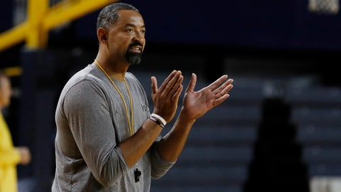 <p>               Michigan head basketball coach Juwan Howard attends an open practice, Thursday, Oct. 17, 2019 in Ann Arbor, Mich. Michigan held its men's basketball media day Thursday, another first for Howard as he prepares for his initial season at the helm. The former Fab Five star returned to his school after coach John Beilein left for the NBA this offseason. (AP Photo/Carlos Osorio)             </p>