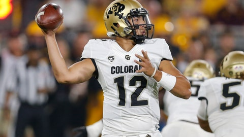 <p>               Colorado quarterback Steven Montez (12) throws a pass against Arizona State during the first half of an NCAA college football game Saturday, Sept. 21, 2019, in Tempe, Ariz. (AP Photo/Rick Scuteri)             </p>