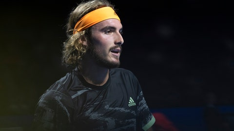 <p>               Greece's Stefanos Tsitsipas looks on during his second round match against Lithuania's Ricardas Berankis at the Swiss Indoors tennis tournament in Basel, Switzerland, on Thursday, Oct. 24, 2019. (Georgios Kefalas/Keystone via AP)             </p>
