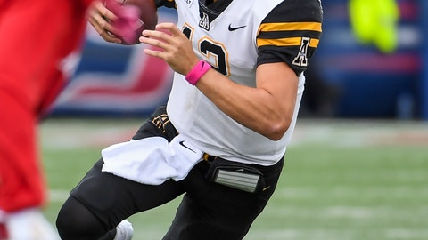 <p>               Appalachian State quarterback Zac Thomas (12) runs the ball against South Alabama during the second half of an NCAA college football game Saturday, Oct. 26, 2019, at Ladd-Peebles Stadium in Mobile, Ala. (AP Photo/Julie Bennett)             </p>
