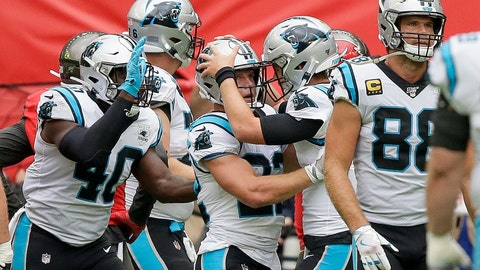 <p>               Carolina Panthers running back Christian McCaffrey (22) is congratulated by quarterback Kyle Allen after scoring a touchdown against the Tampa Bay Buccaneers during the first quarter of an NFL football game, Sunday, Oct. 13, 2019, at Tottenham Hotspur Stadium in London. (AP Photo/Tim Ireland)             </p>