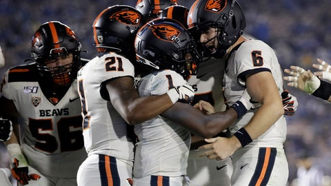 <p>               Oregon State wide receiver Tyjon Lindsey (1) celebrates his touchdown catch with teammates during the second half of an NCAA college football game against UCLA on Saturday, Oct. 5, 2019, in Pasadena, Calif. (AP Photo/Marcio Jose Sanchez)             </p>
