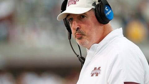 <p>               Mississippi State head coach Joe Moorhead looks down field during the second half of an NCAA college football game against LSU in Starkville, Miss., Saturday, Oct. 19, 2019. LSU won 36-13. (AP Photo/Rogelio V. Solis)             </p>
