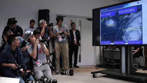 <p>               A satellite photo of typhoon Hagibis is seen during a press briefing on update relating to the anticipated impact of Typhoon Hagibis on the final round Rugby World Cup 2019 pool matches this weekend Thursday, Oct. 10, 2019, in Tokyo. (AP Photo/Eugene Hoshiko)             </p>
