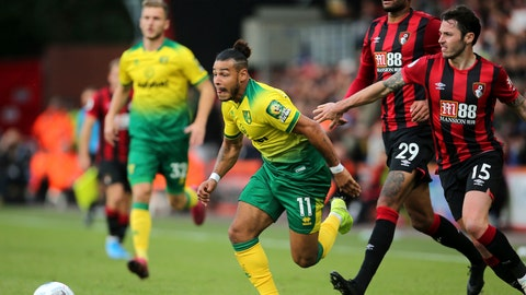 <p>               Norwich City's Onel Hernandez chase the ball during the match against Bournemouth, during their English Premier League soccer match at the Vitality Stadium in Bournemouth, England, Saturday Oct. 19, 2019. (Mark Kerton/PA via AP)             </p>