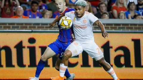 <p>               FILE - In this Sept. 18, 2019, file photo, Atlanta United forward Josef Martinez (7) and FC Cincinnati defender Andrew Gutman (96) vie for the ball in the first half of an MLS soccer match, in Cincinnati. Atlanta United, the defending MLS Cup champions, are heading into the playoffs from essentially the same position as last season.(AP Photo/John Minchillo, File)             </p>