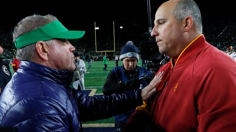 <p>               Notre Dame head coach Brian Kelly, left, and Southern California head coach Clay Helton meet after an NCAA college football game in South Bend, Ind., Saturday, Oct. 12, 2019. (AP Photo/Paul Sancya)             </p>