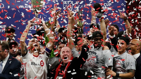 <p>               Toronto FC players celebrate during the trophy presentation after defeating Atlanta United 2-1 in the MLS soccer Eastern Conference final Wednesday, Oct. 30, 2019 in Atlanta. (AP Photo/John Bazemore)             </p>