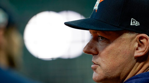 <p>               Houston Astros manager AJ Hinch watches during batting practice for Game 1 of the baseball World Series against the Washington Nationals Tuesday, Oct. 22, 2019, in Houston. (AP Photo/David J. Phillip)             </p>