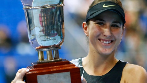 <p>               Belinda Bencic of Switzerland holds her trophy after victory over Anastasia Pavlyuchenkova of Russia in the final match of the Kremlin Cup tennis tournament in Moscow, Russia, Sunday, Oct. 20, 2019. (AP Photo/Alexander Zemlianichenko)             </p>