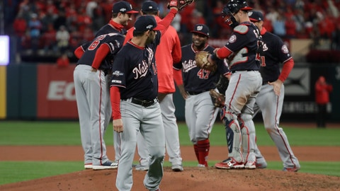 <p>               Washington Nationals starting pitcher Anibal Sanchez waves after being taken out of the game during the eighth inning of Game 1 of the baseball National League Championship Series Friday, Oct. 11, 2019, in St. Louis. (AP Photo/Mark Humphrey)             </p>