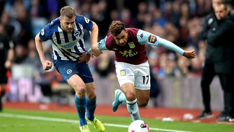 <p>               Aston Villa's Trezeguet and Brighton and Hove Albion's Adam Webster, left, battle for the ball during the Premier League soccer match between Aston Villa and Brighton and Hove Albion, at Villa Park, Birmingham, England, Saturday, Oct. 19, 2019. (Nick Potts/PA via AP)             </p>