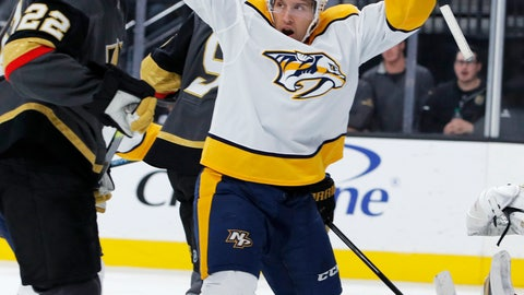 <p>               Nashville Predators center Nick Bonino celebrates after scoring against the Vegas Golden Knights during the third period of an NHL hockey game Tuesday, Oct. 15, 2019, in Las Vegas. The Predators won 5-2. (AP Photo/John Locher)             </p>