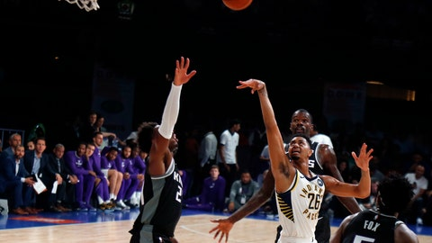 <p>               Indiana Pacers player Jeremy Lamb, white, plays against Sacramento Kings at the NBA India Games 2019, in Mumbai, India, Saturday, Oct. 5, 2019. (AP Photo/Rajanish Kakade)             </p>
