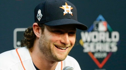 <p>               Houston Astros starting pitcher Gerrit Cole speaks during a news conference for baseball's World Series Monday, Oct. 21, 2019, in Houston. The Houston Astros face the Washington Nationals in Game 1 on Tuesday. (AP Photo/Eric Gay)             </p>