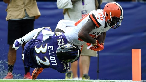 <p>               Cleveland Browns wide receiver Jarvis Landry (80) is tackled just shy of the goal line by Baltimore Ravens defensive back DeShon Elliott (32) during the third quarter of an NFL football game Sunday, Sept. 29, 2019, in Baltimore. Landry, who did not return to the game after that play, remains in concussion protocol following the game in which he caught eight passes for a career-high 167 yards in Sunday's 40-25 victory. Coach Freddie Kitchens said Thursday that Landry is still out, and it's not yet known if he'll be available Monday night when the Browns (2-2) visit the San Francisco 49ers (3-0). Landry has also been returning punts this season. (AP Photo/Gail Burton)             </p>