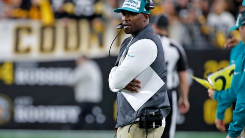 <p>               Miami Dolphins head coach Brian Flores stands on the sideline during the second half of an NFL football game against the Pittsburgh Steelers in Pittsburgh, Monday, Oct. 28, 2019. (AP Photo/Don Wright)             </p>