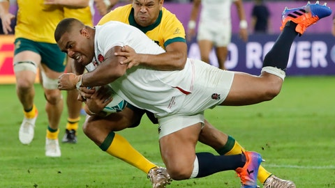 <p>               England's Kyle Sinckler scores a try against Australia during the Rugby World Cup quarterfinal match at Oita Stadium in Oita, Japan, Saturday, Oct. 19, 2019. (AP Photo/Christophe Ena)             </p>