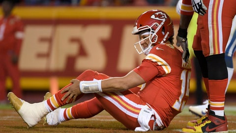 <p>               Kansas City Chiefs quarterback Patrick Mahomes holds his leg after he was tackled by Indianapolis Colts defensive ends Kemoko Turay and Justin Houston during the second half of an NFL football game in Kansas City, Mo., Sunday, Oct. 6, 2019. (AP Photo/Reed Hoffmann)             </p>