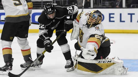 <p>               Vegas Golden Knights goalie Marc-Andre Fleury makes a save as Los Angeles Kings center Trevor Lewis (22) pressures during the second period of an NHL hockey game, Sunday, Oct. 13, 2019, in Los Angeles. (AP Photo/Michael Owen Baker)             </p>