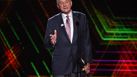 <p>               FILE - In this July 10, 2019 file photo, Jim Calhoun, men's basketball coach for the University of Saint Joseph in West Hartford, Conn., accepts the best coach award at the ESPY Awards at the Microsoft Theater in Los Angeles.  Calhoun has been accused of sexual discrimination by a former associate athletic director at the University of Saint Joseph, the Division III school where he now works. Jaclyn Piscitelli filed a lawsuit Wednesday, Oct. 9 in U.S. District Court against the school, which began admitting men in 2018.  (Photo by Chris Pizzello/Invision/AP, File)             </p>