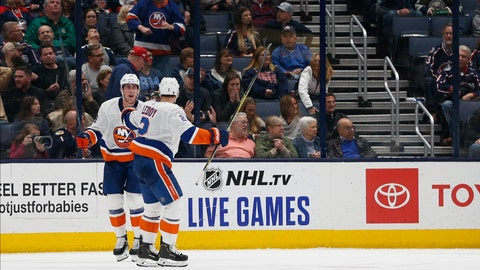 <p>               New York Islanders' Brock Nelson, left, celebrates his game-winning goal against the Columbus Blue Jackets with teammate Nick Leddy during the overtime period of an NHL hockey game Saturday, Oct. 19, 2019, in Columbus, Ohio. The Islanders beat the Blue Jackets 3-2 in overtime. (AP Photo/Jay LaPrete)             </p>