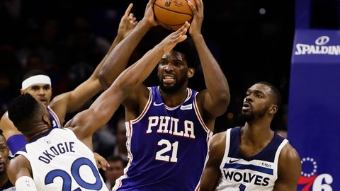 <p>               Minnesota Timberwolves' Josh Okogie (20) and Noah Vonleh (1) defend as Philadelphia 76ers' Joel Embiid (21) looks to pass the ball during the first half of an NBA basketball game Wednesday, Oct. 30, 2019, in Philadelphia. (AP Photo/Matt Rourke)             </p>