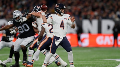 <p>               Chicago Bears quarterback Chase Daniel (4) prepares to throw during the second half of an NFL football game against the Oakland Raiders at Tottenham Hotspur Stadium, Sunday, Oct. 6, 2019, in London. (AP Photo/Kirsty Wigglesworth)             </p>