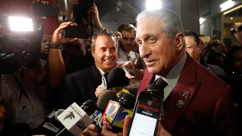 <p>               Atlanta Falcons owner Arthur Blank speaks to the media after an NFL football game between the Atlanta Falcons and the Seattle Seahawks, Sunday, Oct. 27, 2019, in Atlanta. The Seattle Seahawks won 27-20. (AP Photo/John Bazemore)             </p>