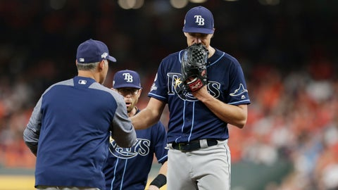 <p>               Tampa Bay Rays starting pitcher Tyler Glasnow, right, is pulled during the third inning of Game 5 of the baseball team's American League Division Series against the Houston Astros in Houston, Thursday, Oct. 10, 2019. (AP Photo/Michael Wyke)             </p>