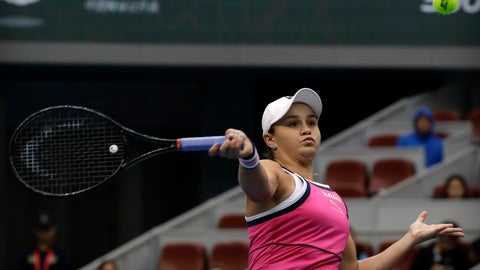 <p>               Ashleigh Barty of Australia hits a return shot while competing against Kiki Bertens of the Netherlands in their semifinal match in the China Open tennis tournament in Beijing, Saturday, Oct. 5, 2019. (AP Photo/Mark Schiefelbein)             </p>