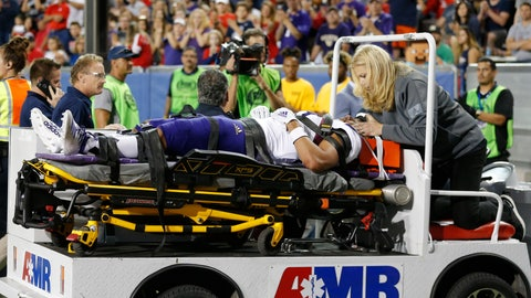 <p>               Washington linebacker MJ Tafisi (53) gets taken off the field after an injury in the second half during an NCAA college football game against Arizona, Saturday, Oct. 12, 2019, in Tucson, Ariz. (AP Photo/Rick Scuteri)             </p>