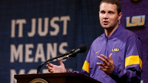 <p>               LSU head coach Will Wade speaks during the Southeastern Conference NCAA college basketball media day, Wednesday, Oct. 16, 2019, in Birmingham, Ala. (AP Photo/Butch Dill)             </p>