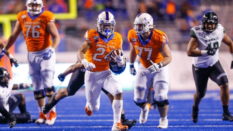 <p>               Boise State running back George Holani (24) breaks away from the Hawaii defense for a 40-yard touchdown run in the second half of an NCAA college football game, Sunday, Oct. 13, 2019, in Boise, Idaho. Boise State won 59-37. (AP Photo/Steve Conner)             </p>