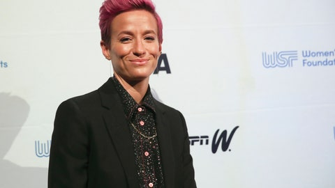 <p>               In this Wednesday, Oct. 16, 2019, photo soccer star Megan Rapinoe poses for photos on the red carpet of the Women's Sports Foundation's 40th annual Salute to Women in Sports in New York. Rapinoe, who was honored at the gala, won Sportswoman of the Year in the team category. She led the U.S. women's soccer team to victory at the World Cup in France and earned the FIFA Player of the Year award.  (AP Photo/Mary Altaffer)             </p>