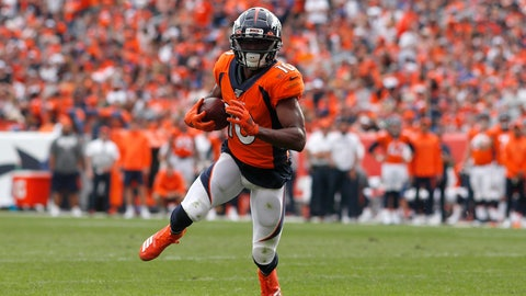 <p>               FILE - In this Sept. 15, 2019, file photo, Denver Broncos wide receiver Emmanuel Sanders carries the ball against the Chicago Bears during the second half of an NFL football game in Denver. The San Francisco 49ers have raced out to six straight wins to open the season despite lacking a dynamic receiver who could change a game in a single play. So when the opportunity to acquire a player like Sanders presented itself, the Niners didn't hesitate to make a move, giving up a pair of draft picks for a 32-year-old receiver in the final year of his contract. (AP Photo/David Zalubowski, File)             </p>