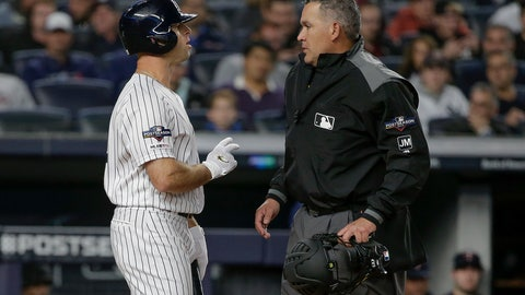 <p>               New York Yankees' Brett Gardner, left, talks with home plate umpire Manny Gonzalez after striking out against the Minnesota Twins during the first inning of Game 1 of an American League Division Series baseball game, Friday, Oct. 4, 2019, in New York. (AP Photo/Seth Wenig)             </p>